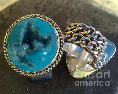 Sterling Silver Rings Jewelry - Ss Ring With Indonesian Turquoise Drusy by fmnjewel - Fernando Situmeang