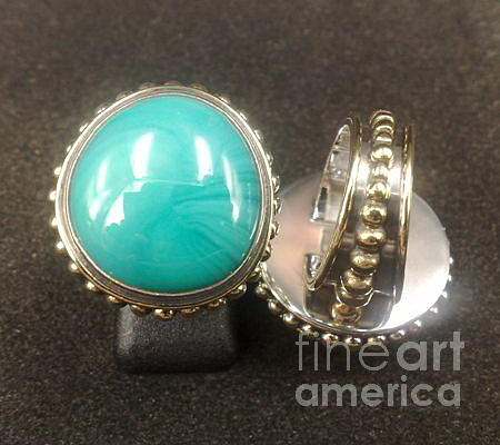 Sterling Silver Jewelry Jewelry - Ss Ring With Turquoise Opaque Glass Gem Marbles  by fmnjewel - Fernando Situmeang
