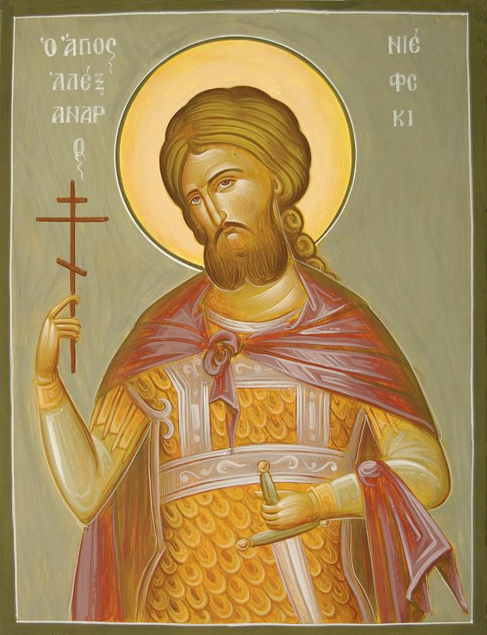 Icon Painting - St Alexander Nevsky by Julia Bridget Hayes