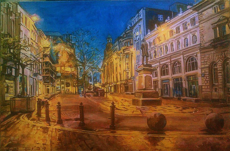 St. Ann's Square, Manchester, at night by Rosanne Gartner