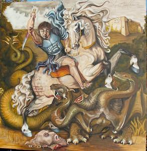 St. Anthony Slaying The Dragon Painting by Sarah Drake