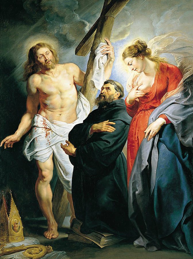 St. Augustine between Christ and the Virgin Painting by Peter Paul ...