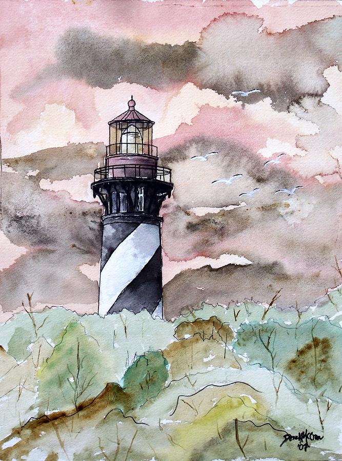 Lighthouse Painting - St Augustine Lighthouse by Derek Mccrea