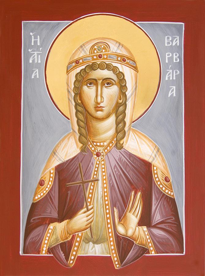 Icon Painting - St Barbara by Julia Bridget Hayes
