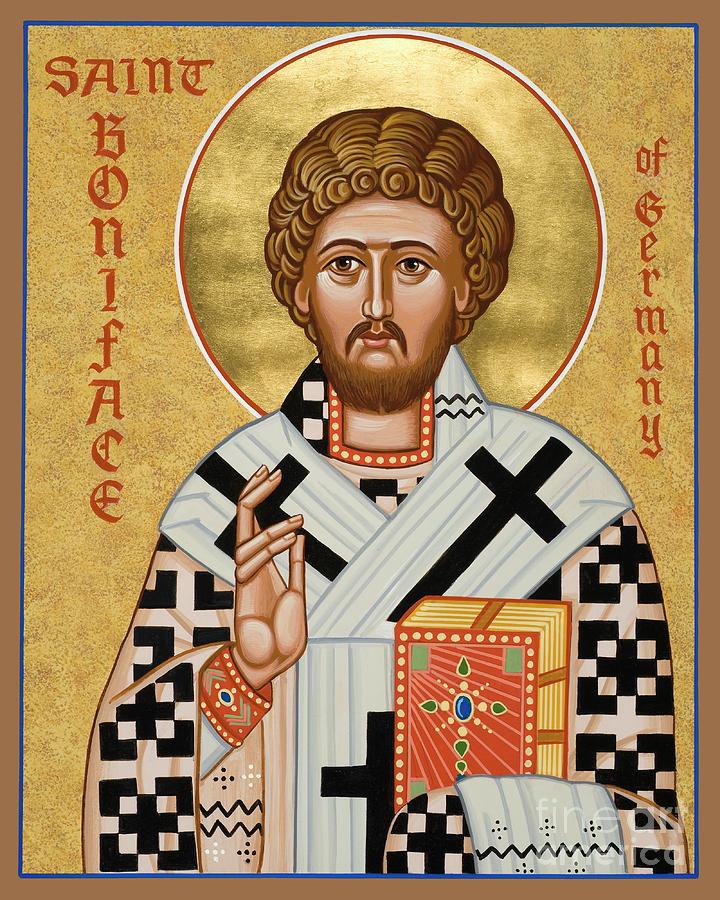 Saints Painting - St. Boniface Of Germany - Jcbon by Joan Cole