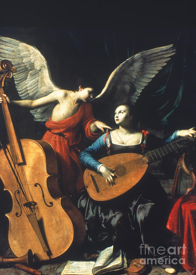 1600 Painting - St. Cecilia And The Angel by Granger