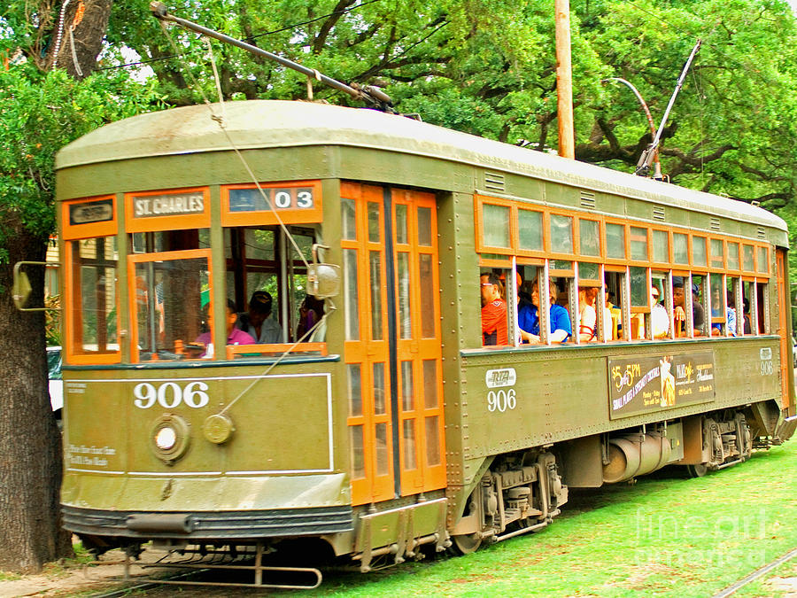 New Orlean Photograph - St. Charles Ave. Trolley by Jim Sweida