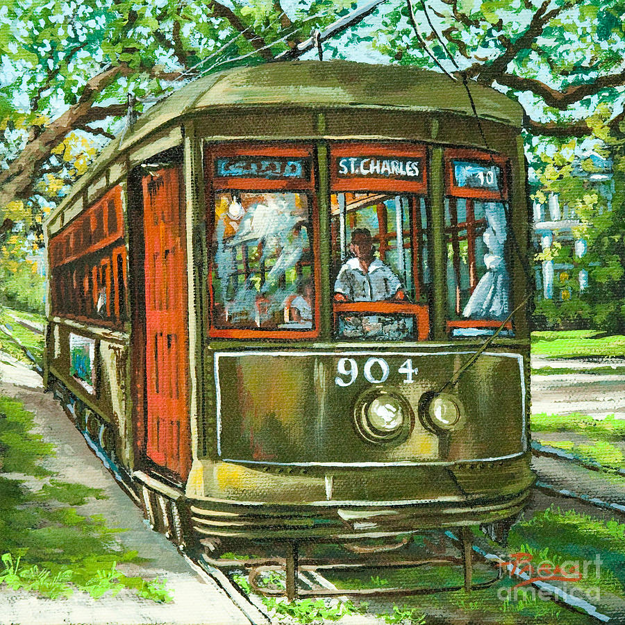 New Orleans Streetcar Painting - St. Charles No. 904 by Dianne Parks
