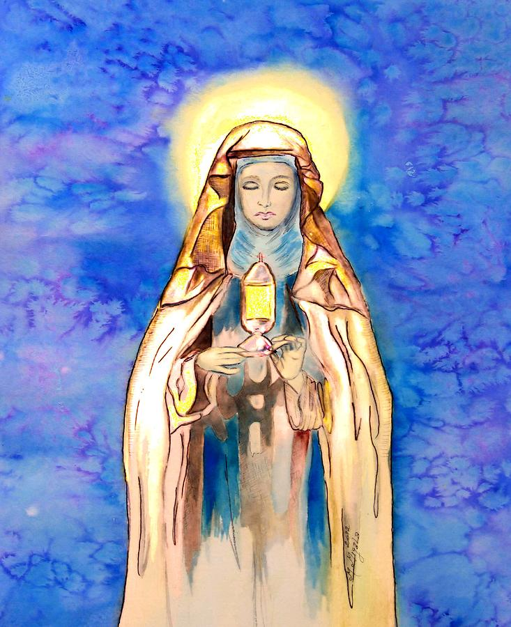 Catholic Saint Painting - St. Clare Of Assisi by Myrna Migala