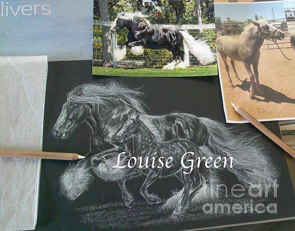 Gypsy Cob Drawing - St Clarins And The Silver Princess by Louise Green