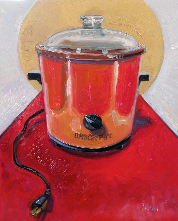 Vintage Painting - St. Crock Pot in Orange by Jennie Traill Schaeffer