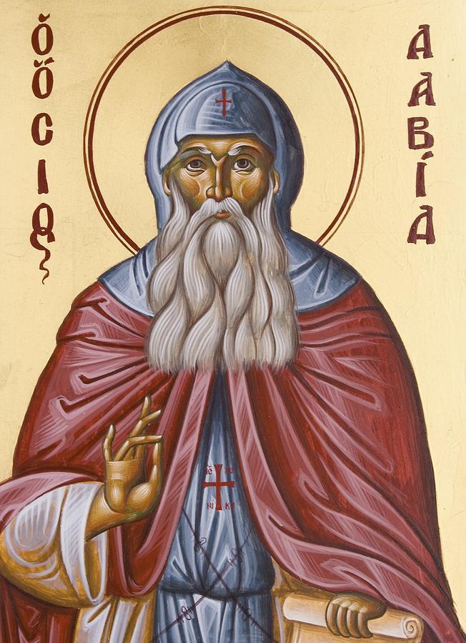 Icon Painting - St David Of Evia by Julia Bridget Hayes