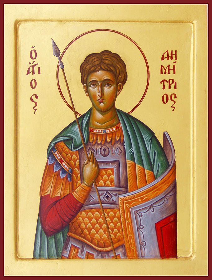 St Demetrios Painting - St Demetrios The Great Martyr And Myrrhstreamer by Julia Bridget Hayes