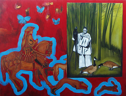 St Eustace And Pierrot Painting by Anne Bradford