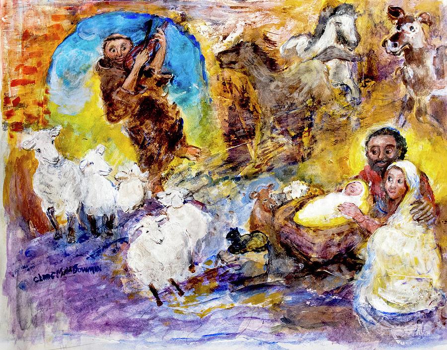 St Francis and Sheep Sing in Nativity by Claremaria Vrindaji Bowman