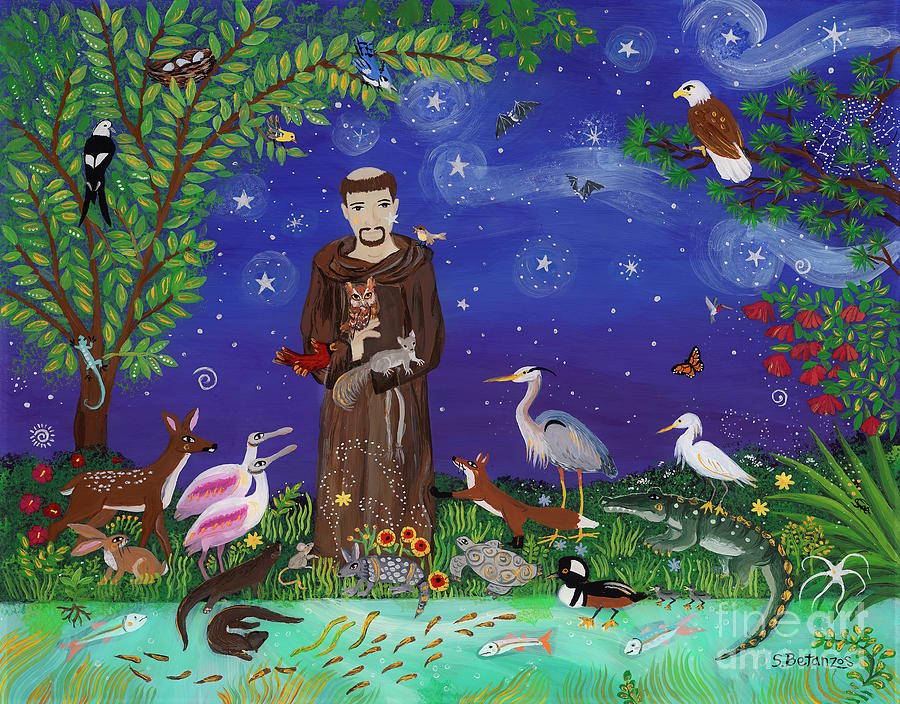 St. Francis Of Assisi Painting - St. Francis Guardian of Florida Eagle Forest by Sue Betanzos