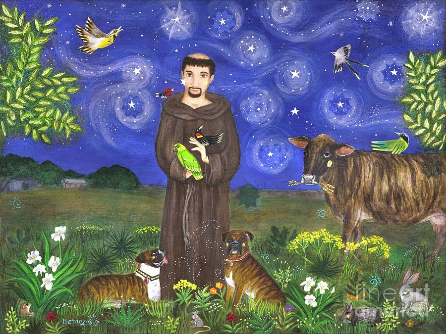 Catholic Gift Painting - St. Francis In Texas by Sue Betanzos