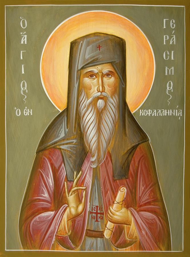 St Gerasimos Of Kafalonia Painting - St Gerasimos Of Kefalonia by Julia Bridget Hayes