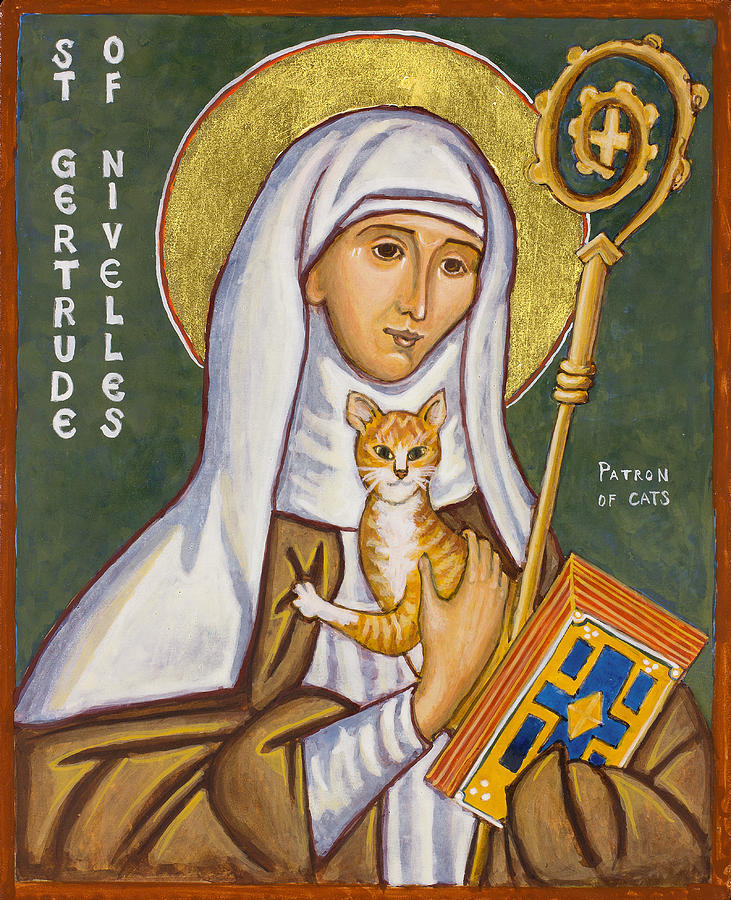 St. Gertrude of Nivelles Icon Painting by Jennifer Richard-Morrow