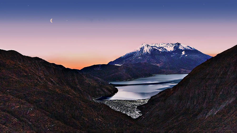 Volcano Photograph - St Helens After Sunset by John Christopher