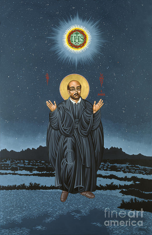 St. Ignatius Painting - St. Ignatius In Prayer Beneath The Stars 137 by William Hart McNichols