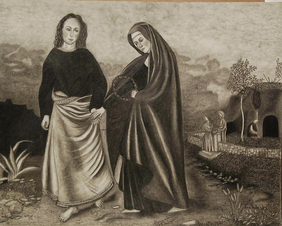 St. John and Blessed Mother at the Tomb by Alma Bella Solis