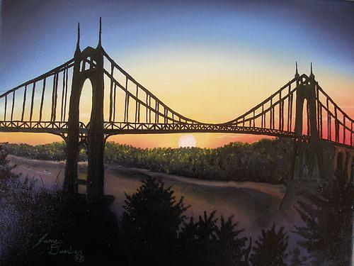 St. Johns Bridge At Night Painting by Dunbars Modern Art