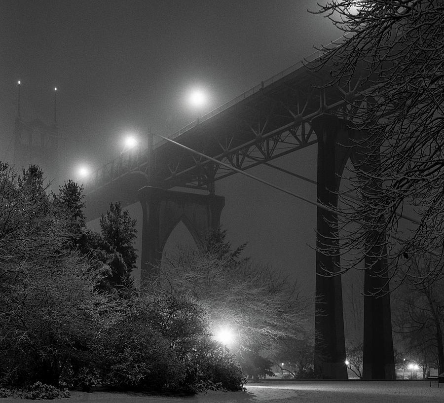Horizontal Photograph - St. Johns Bridge On Snowy Evening by Zeb Andrews