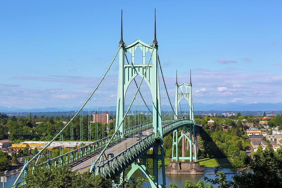 St Johns Bridge Photograph - St Johns Bridge Over Willamette River by David Gn