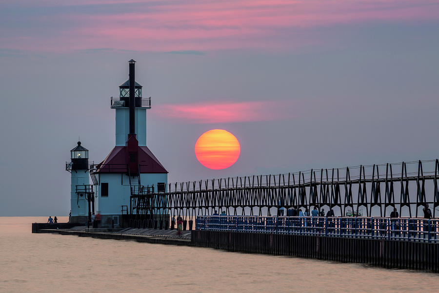 3scape Photograph - St. Joseph Lighthouse At Sunset by Adam Romanowicz
