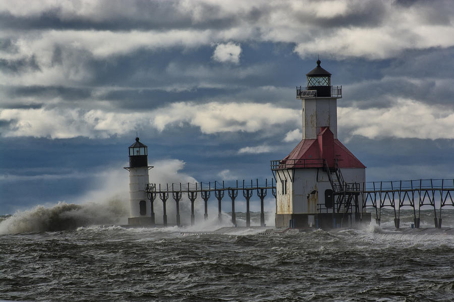 America Photograph - Big Waves - St. Joseph Lighthouse by Gej Jones