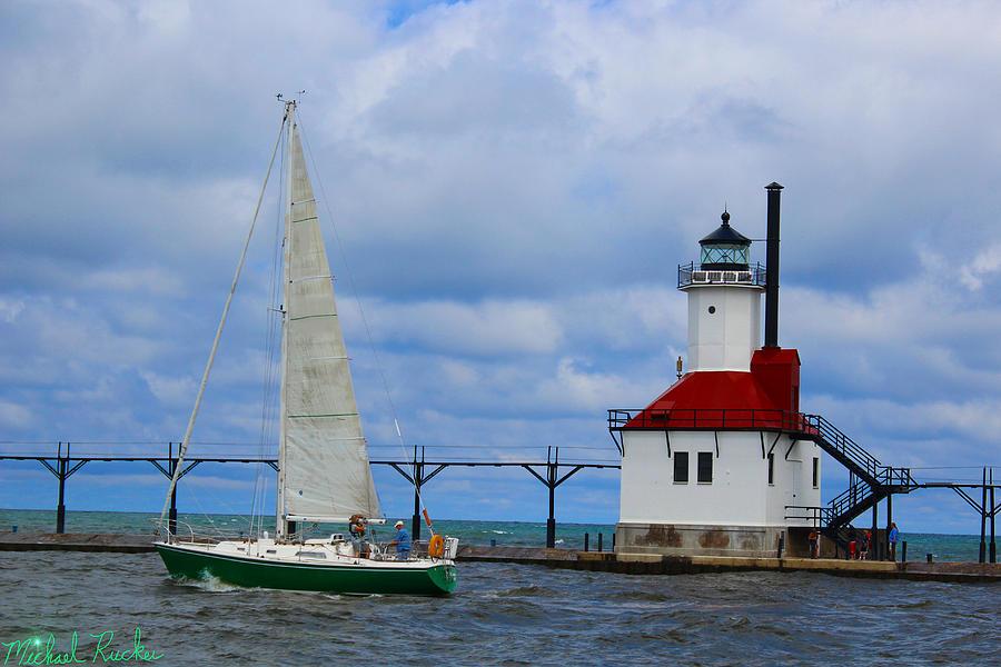 Lighthouse Photograph - St. Joseph Lighthouse Sailboat by Michael Rucker