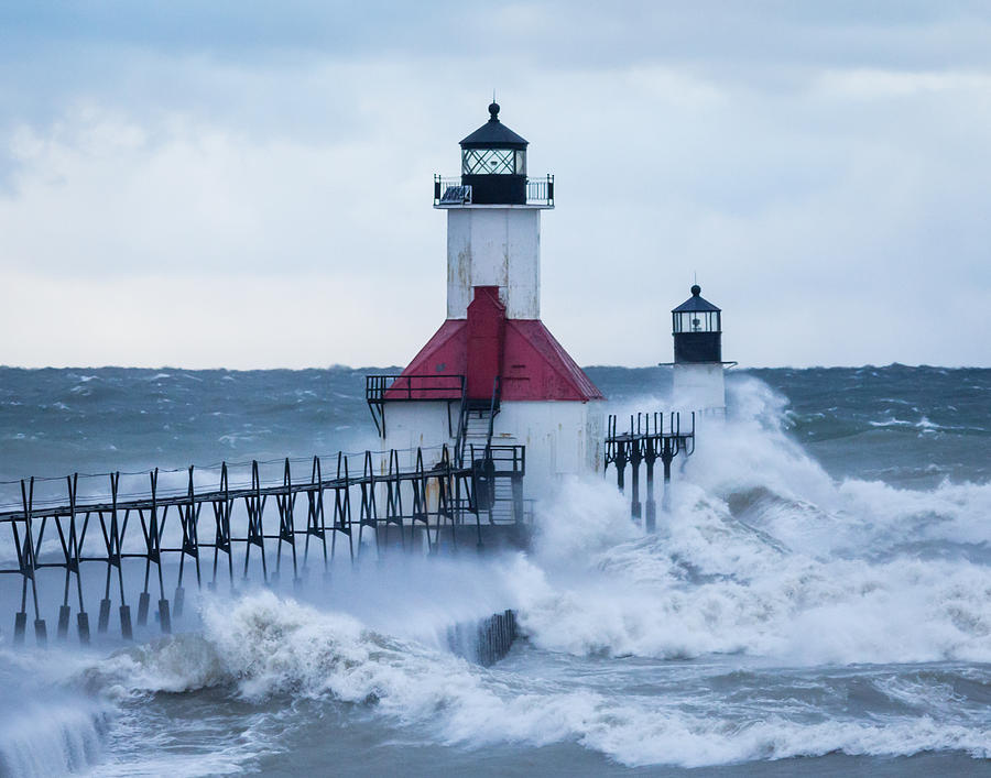 St Photograph - St. Joseph Lighthouse With Waves by Kimberly Kotzian