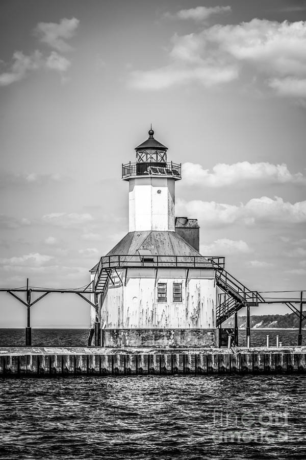 St. Joseph Michigan Lighthouse In Black And White Photograph