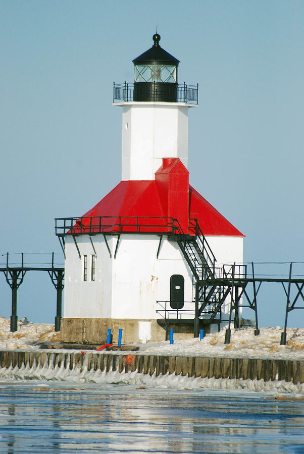 Lighthouse Photograph - St Joseph North Pier Lights by Michael Peychich