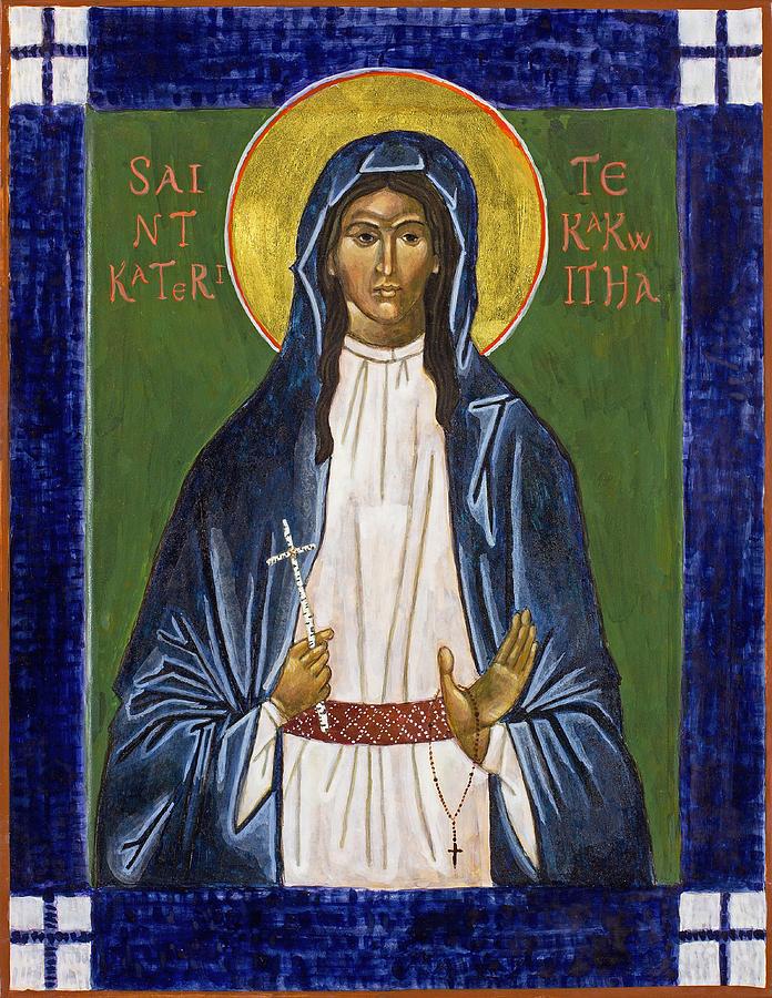 Icon Painting - St. Kateri Tekakwitha Icon by Jennifer Richard-Morrow