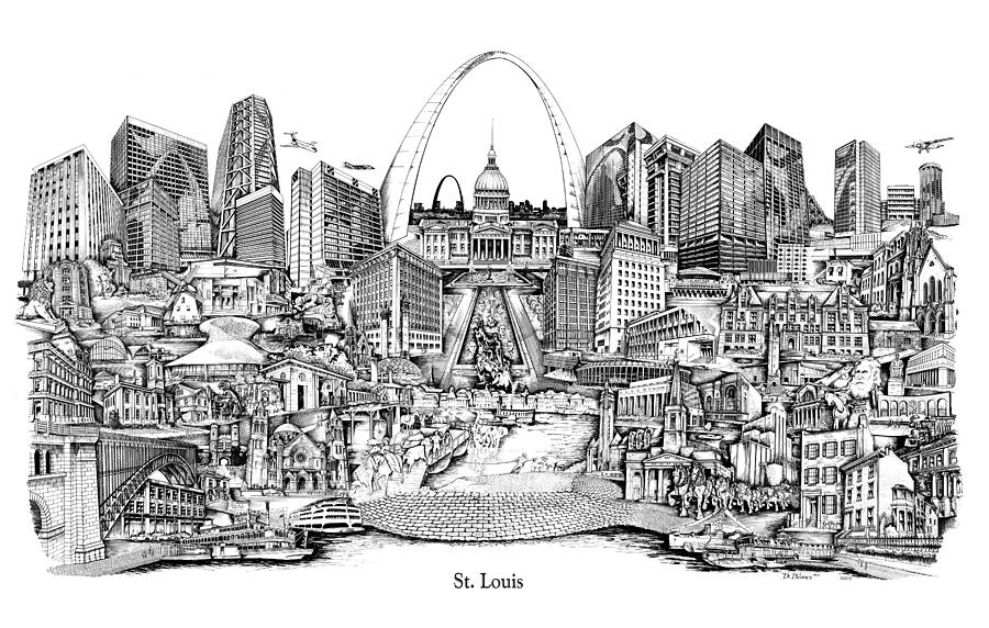 St. Louis Drawing - St. Louis 4 by Dennis Bivens