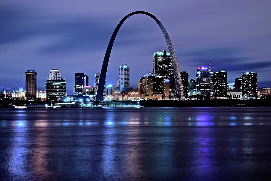St Photograph - St Louis Black N Blue by Frozen in Time Fine Art Photography