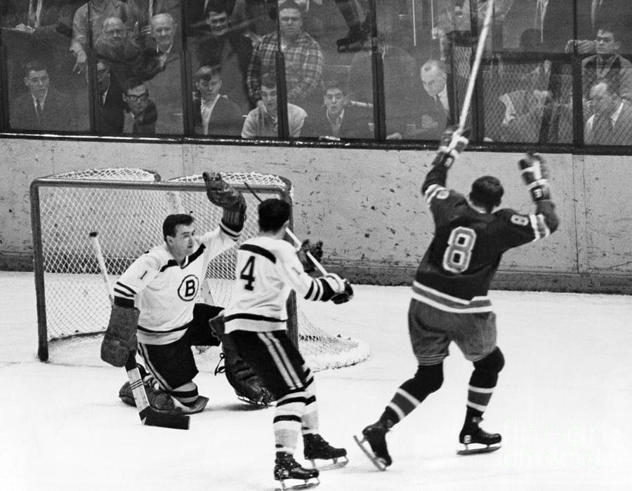 the best attitude d785d 531ee St. Louis Blues' Bob Nevins Scores A Goal On Boston Bruins. 1966