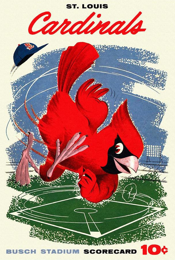 St. Louis Cardinals Painting - St. Louis Cardinals Vintage 1958 Scorecard by John Farr