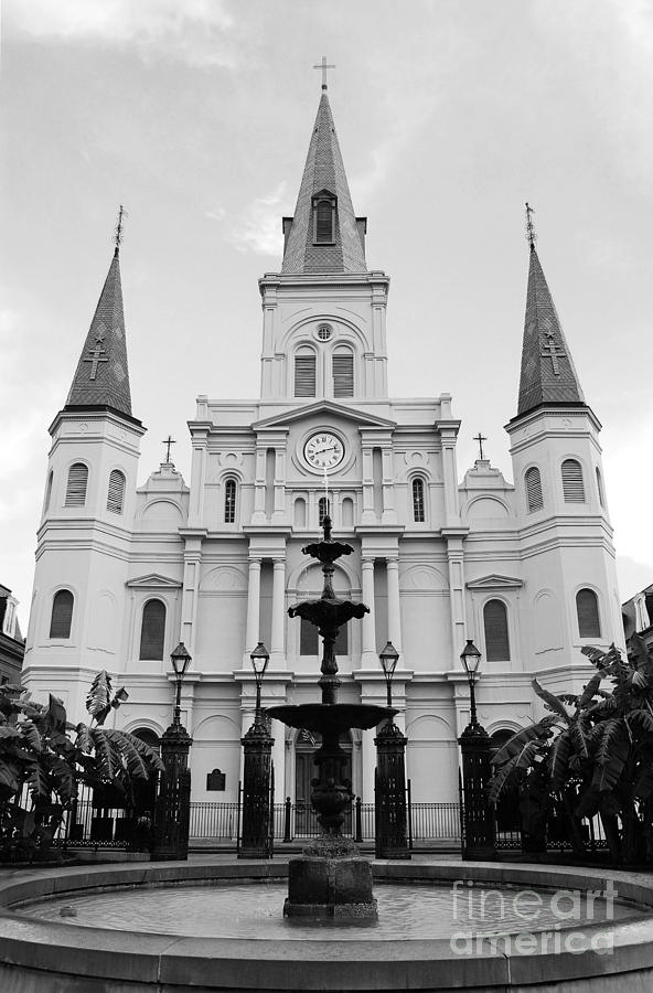 New Orleans Photograph - St Louis Cathedral And Fountain Jackson Square French Quarter New Orleans Black And White by Shawn OBrien
