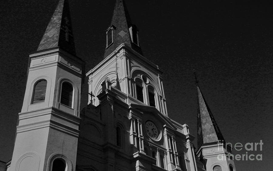 St. Louis Cathedral Photograph - St. Louis Cathedral In Black And White by John Giardina