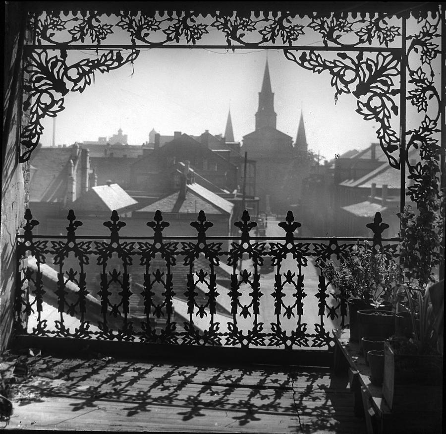 Wrought Iron Photograph - St Louis Cathedral In Frame by Crescent City Collective