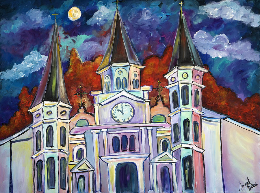 Church Painting - St. Louis Glowing by Angel Turner Dyke
