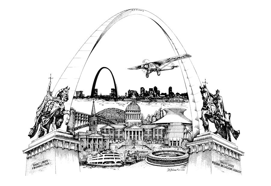 St. Louis Drawing - St. Louis Highlights Version 1 by Dennis Bivens