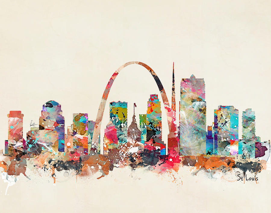 St Louis Skyline Painting - St Louis Missouri Skyline by Bri Buckley
