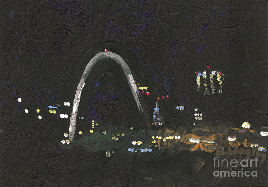 Cityscape Painting - St. Louis Riverfront 1 by Helena M Langley