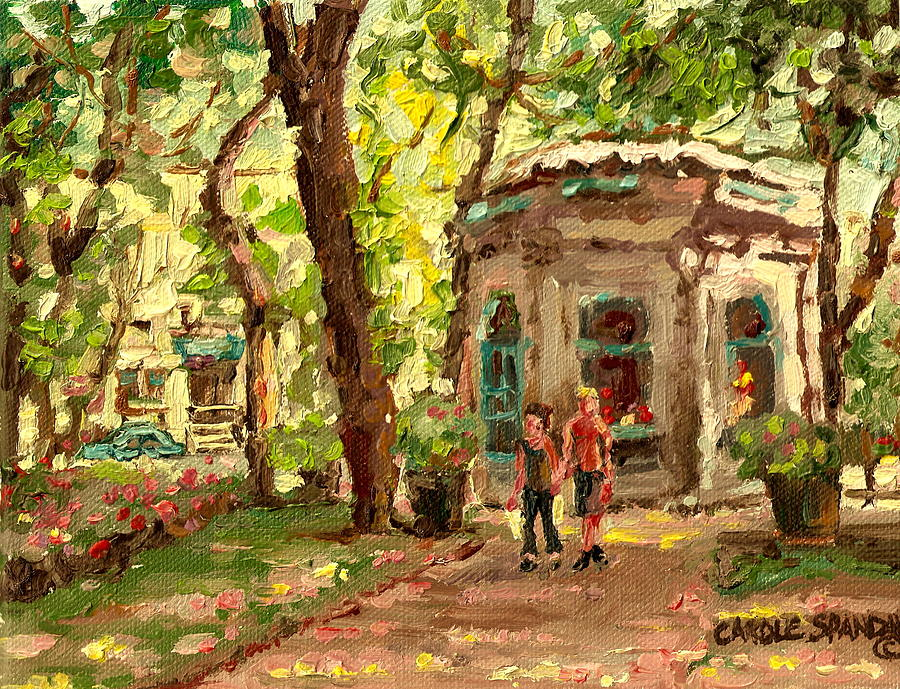Montreal Painting - St Louis Square St Denis Street by Carole Spandau