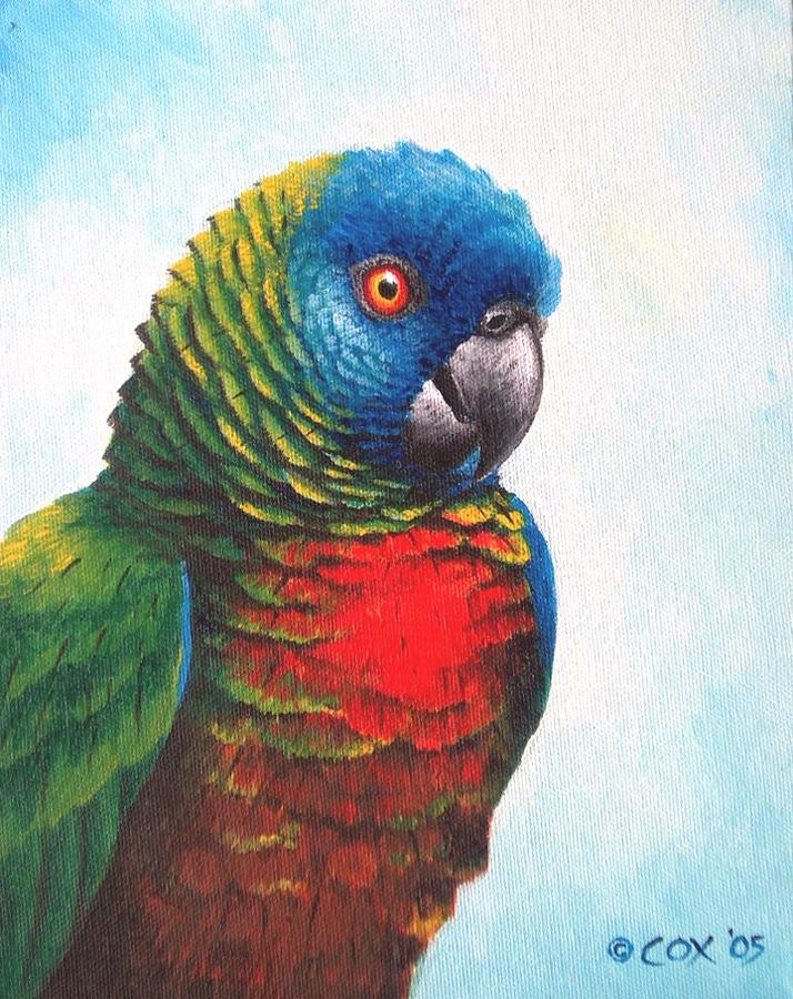 St Lucia Parrot Painting By Christopher Cox