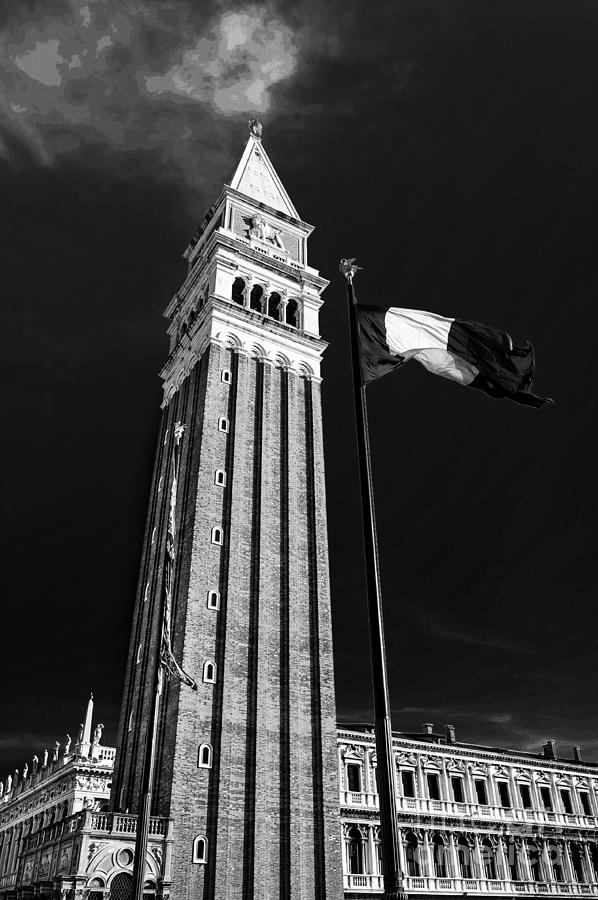 Venice Photograph - St. Marks Square Bell Tower Venice by Ken Andersen